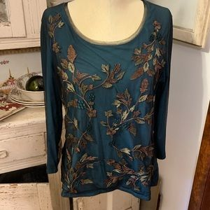 Coldwater Creek Embroidered Blouse Sz L